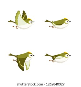 Vector illustration of cartoon flying Goldcrest (male) sprite sheet isolated on white background. Can be used for GIF animation