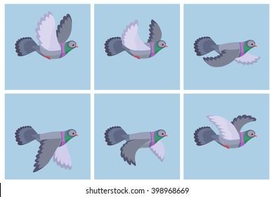 Vector illustration of cartoon flying pigeon animation sprite
