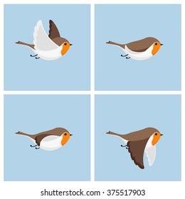 Vector illustration of cartoon flying robin animation sprite sheet