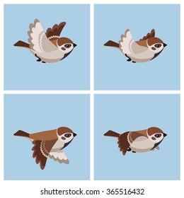 Vector illustration of cartoon flying sparrow animation sprite