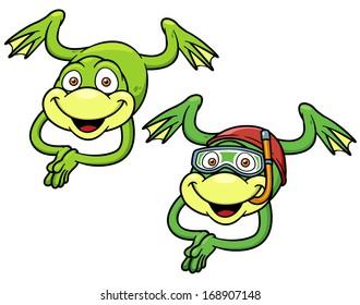 vector illustration of Cartoon frog