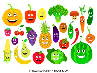 Vector illustration of cartoon fruits and vegetables