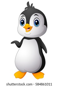 Vector illustration of Cartoon funny baby penguin