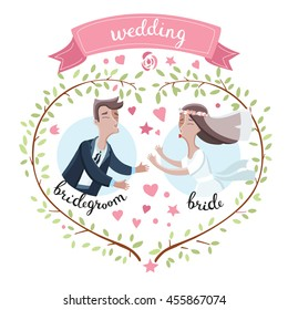 Vector illustration of cartoon funny bride and groom. try to kiss each other. Wedding design with wreath, sprigs with leaves stars and hearts. And hand drawn lettering