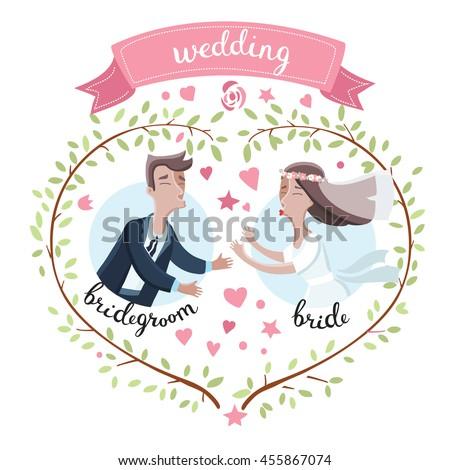 Vector Illustration Cartoon Funny Bride Groom Stock Vector Royalty