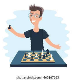 Vector illustration of cartoon funny chess-player player play chess