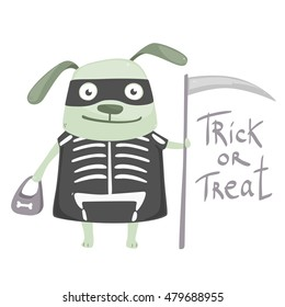 Vector illustration with cartoon funny green dog wearing in costume of skeleton with text Trick or treat isolated on white background