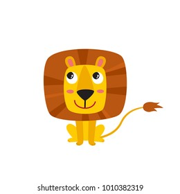 Vector illustration of cartoon funny lion isolated on white background. Cute, funny animal, sitting cat character used for magazine, book, poster, card, web pages.