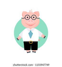 Vector Illustration. Cartoon funny pig. Pig boss. Piglet in shirt, pans and glasses. Office style