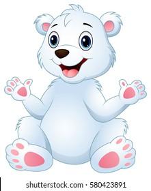 Vector illustration of Cartoon funny polar bear sitting