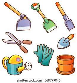 Vector illustration of Cartoon Garden tools