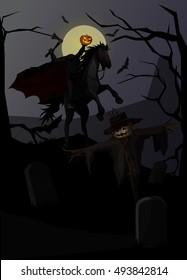 Vector Illustration and Cartoon : Ghost Knight Headless Horseman in legend and Pumpkin Scarecrow On dark background Halloween.