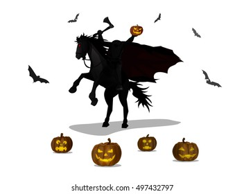 Vector Illustration and Cartoon : Ghost Knight Headless Horseman in legend and Head Pumpkin Jack o Lantern Halloween isolated on white background.