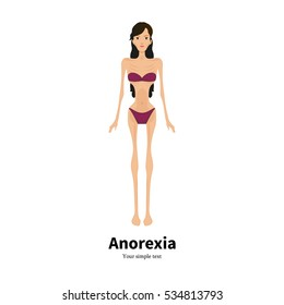 Vector illustration of a cartoon girl with anorexia nervosa. Isolated white background. Flat style. Icon is very thin woman. Female disease bulimia. Consequences of anorexia syndrome.