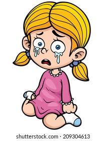 Vector illustration of Cartoon girl crying
