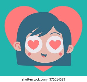Vector illustration of a cartoon girl head with hearts in her eyes, inside a big heart.
