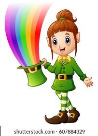 Vector illustration of Cartoon girl Leprechaun holding hat with magic rainbow