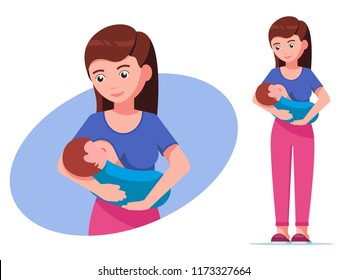 Vector illustration of a cartoon girl is suckling a baby in her arms. Breastfeeding mother. Isolated white background. Standing woman holding newborn and breastfeeding. Flat style.