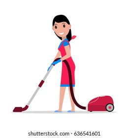 Vector illustration of a cartoon girl with a vacuum cleaner. Isolated white background. Flat style. Concept of a business cleaning service. Woman vacuums the floors.