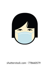 Vector illustration of a cartoon girl wearing a surgical mask
