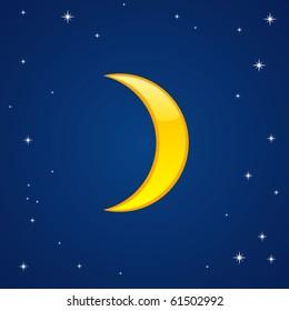 Vector illustration of cartoon glossy moon in the sky