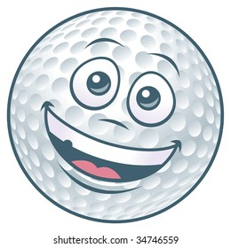 Vector illustration of a cartoon golf ball character.