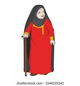 Vector illustration of cartoon grandmother . arab grandma