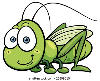 Vector illustration of cartoon Grasshopper