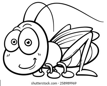 Vector illustration of cartoon Grasshopper - Coloring book