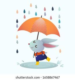 Vector illustration cartoon gray rabbit splashing in a puddle in rainy day.