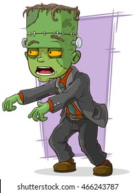 A vector illustration of cartoon green zombie monster in suit