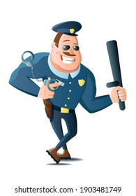 Vector illustration cartoon grinning policeman holds baton and handcuffs.