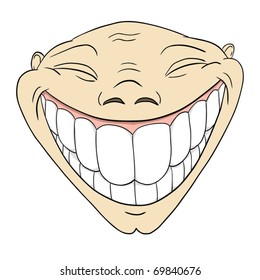 Vector illustration. Cartoon grotesque funny face with big toothy smile