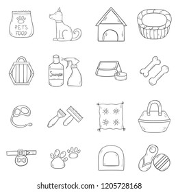 Vector illustration with cartoon hand drawn dog stuff icons with dog character. House pet concept. Vector hand drawn petshop icons. Dog house, training equipment, accessory, toys and shampoo