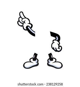 Vector illustration of cartoon hands and legs
