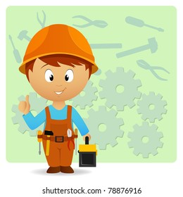 Vector illustration. Cartoon handyman with tools on industry background