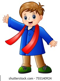 Vector illustration of Cartoon happy boy in blue winter clothes