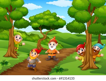 Vector illustration of Cartoon happy dwarf in the forest