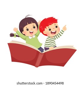 Vector illustration cartoon of happy kids flying on the book on white background.