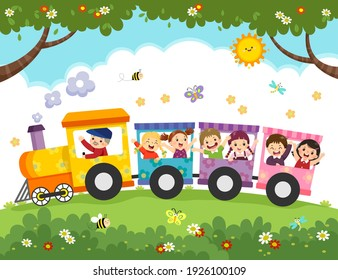 Vector illustration cartoon of happy kids with the train.