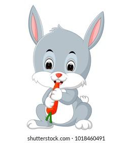 vector illustration of Cartoon happy rabbit eating carrot