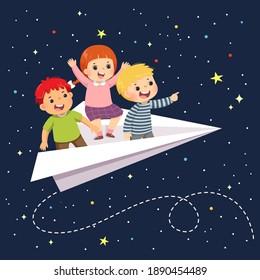Vektorgrafik von glücklichen drei Kindern, die nachts im Papierflugzeug am Sternenhimmel fliegen.