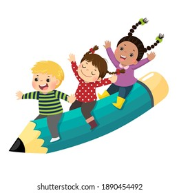 Vector illustration cartoon of happy three kids riding a flying pencil on white background.