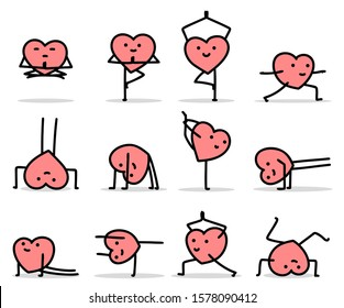 vector illustration of cartoon heart characters doing yoga