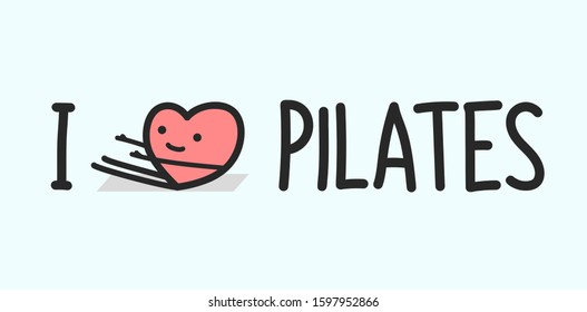 vector illustration of cartoon heart doing pilates 1
