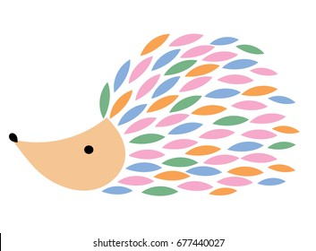 Vector illustration of a cartoon hedgehog. Stylized hedgehog. Art for children. Animal from geometric figures. Forest dweller on a white background.