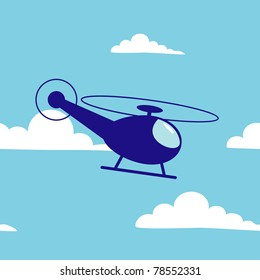 Vector illustration of cartoon helicopter