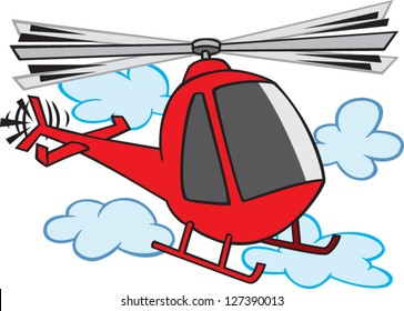 A vector illustration of cartoon helicopter flying up in the clouds