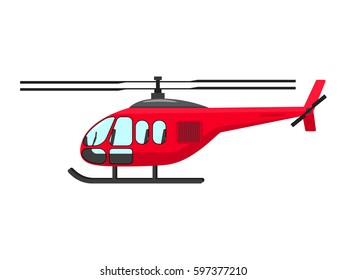 Vector illustration of a cartoon helicopter object. Isolated white background. Flat style.