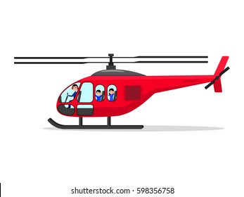 Vector illustration of a cartoon helicopter with passengers and a pilot. Isolated white background. Flat design.